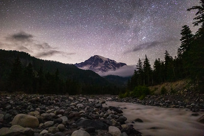 Starlight View of Rainier from the Nisqually River