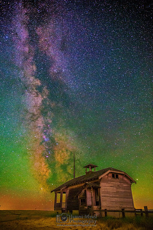 """""""Dreams of Yesterday,"""" the Milky Way over and Abandoned One Room Schoolhouse, Oregon, United States"""