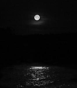 moonset over Canandaigua Lake