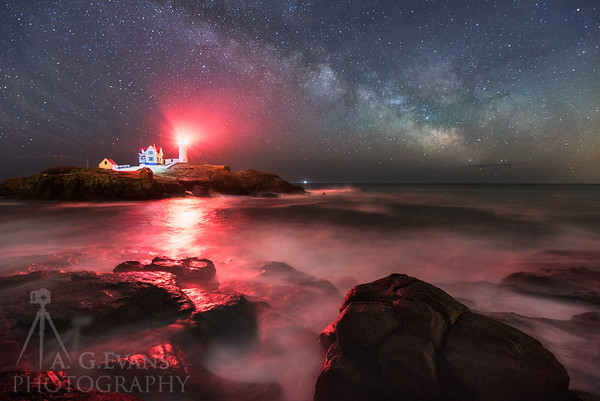 Nubble Waves at Night