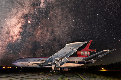 Milky Way and Aircraft composite taken at the Laurinburg-Maxton Airport.