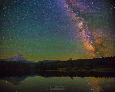 """Lassen Mirror,"" The Milky Way over Manzanita Lake and Lassen Peak, Lassen Volcanic National Park, California"