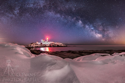 Winter Milky Way over Nubble Light