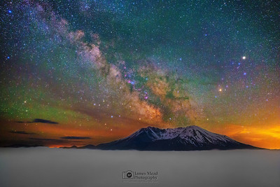 """""""Celestial Eruption,"""" Mount St. Helens by Night, 35th Anniversary: The Milky Way over Mount St Helens, Mt St Helens National Volcanic Monument"""