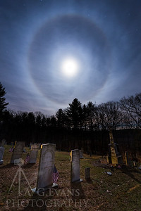 Moon Halo Over Meeting House Hill Road Cemetery