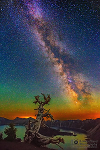 The Milky Way and Aurora Borealis over Whitebark Pine, Wizard Island and Crater Lake, Crater Lake National Park