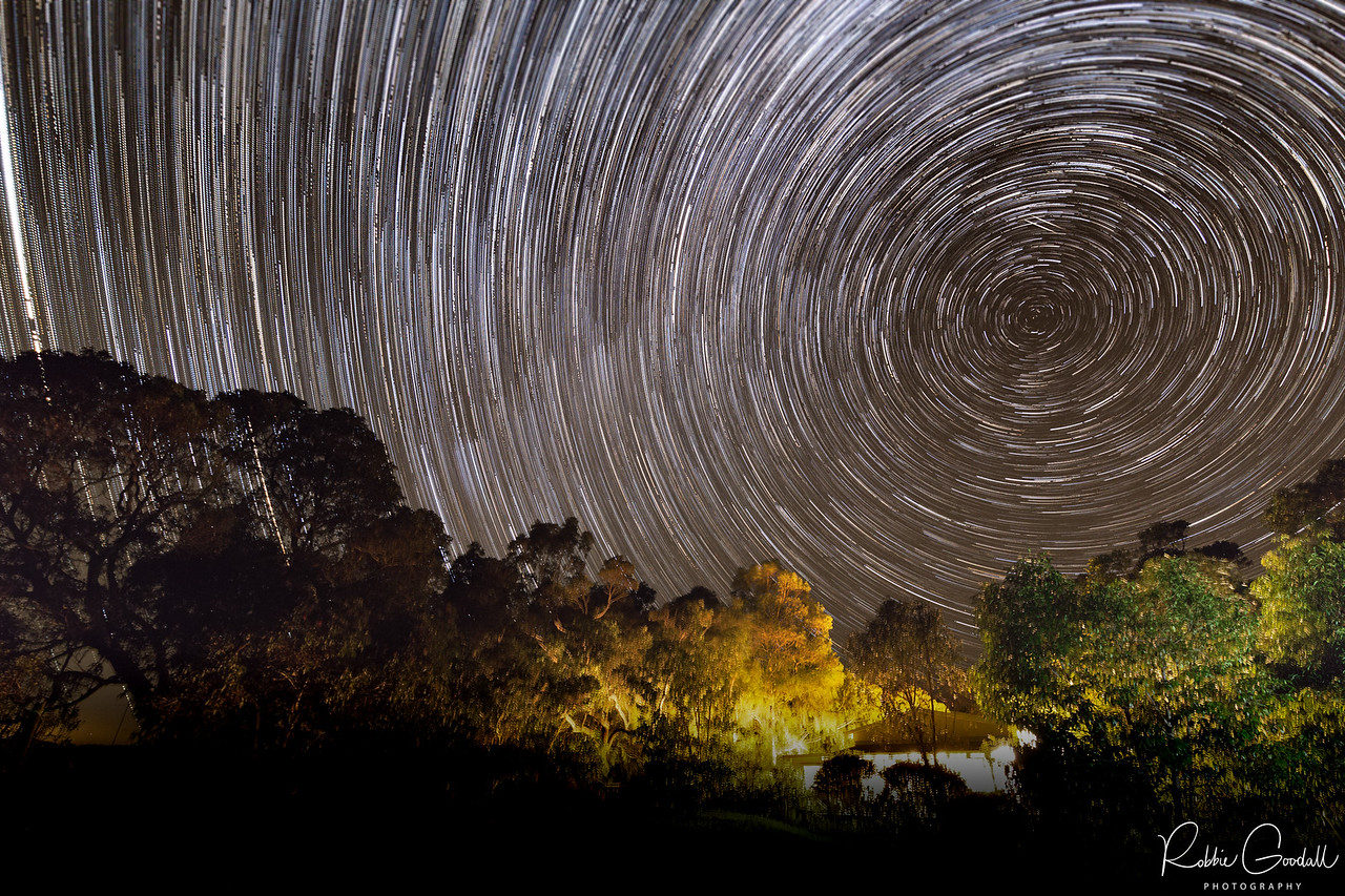 Startrails over the Avoca Farm Chalet, Western Australia