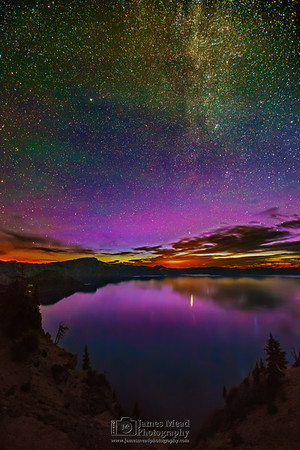 The Aurora Borealis over Crater Lake, Crater Lake National Park