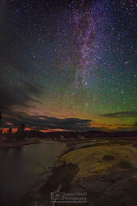 The Milky Way over the Firehole River and Midway Geyser Basin, Yellowstone National Park
