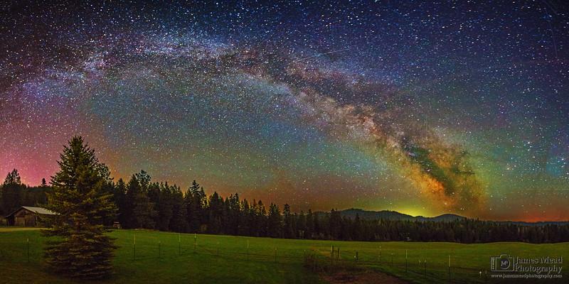 """The Sleepy Farm,"" Milky Way and Aurora Glow over the Farm, Harrison, Idaho"