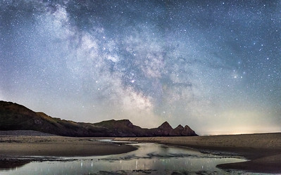 Milky Way over Three Cliffs bay.