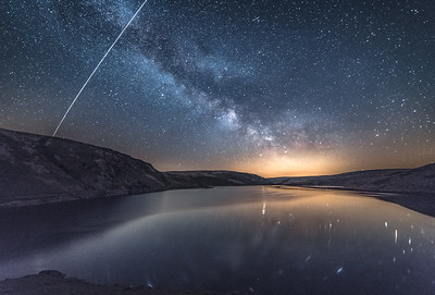 Milky Way and the ISS of Claerwen Reservoir