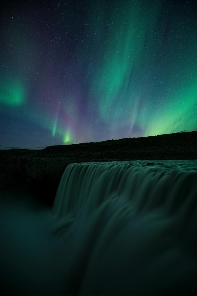 Dettifoss Under Aurora
