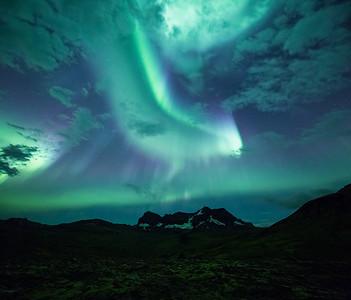Aurora Over Dyrfjoll in Northeast Iceland