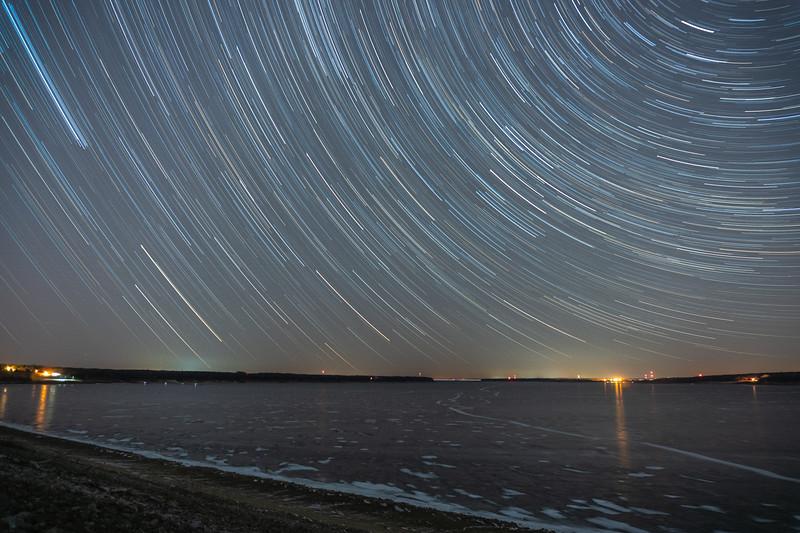 Star Trails Over Saylorville Lake