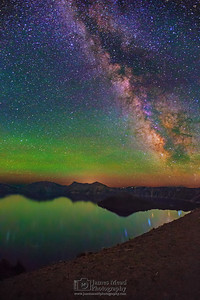 The Milky Way and Aurora Borealis over Wizard Island and Crater Lake, Crater Lake National Park
