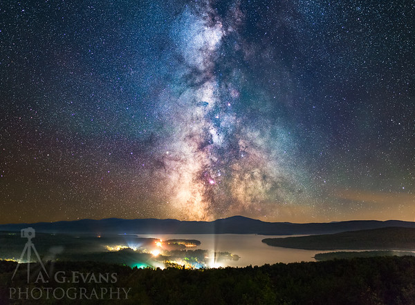 A View of First Connecticut Lake at Night