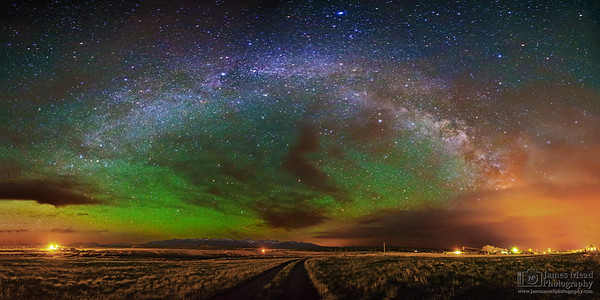 """""""Midnight Backroad,"""" The Milky Way Arch over the Crazy Mountains, Wilsall Montana"""