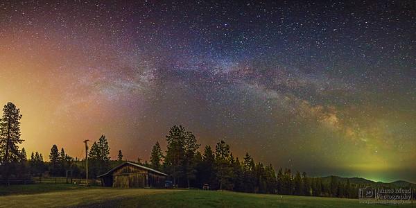 """Night Light Battle,"" The Milky Way over the Farm, Harrison Idaho"