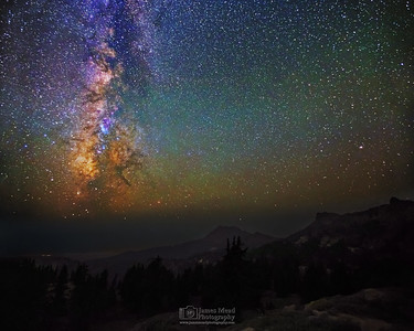 """Broken Core,"" The Milky Way over Brokeoff Mountian and Mount Diller, Lassen Volcanic National Park, California"