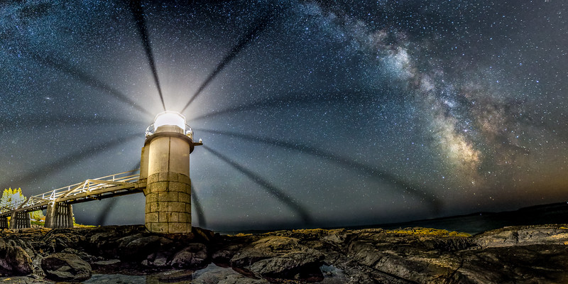 Milky Way over Marshall Point Lighthouse