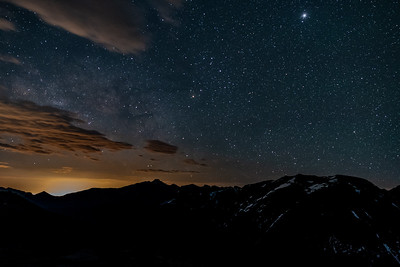 Longs Peak with Milky Way and Denver Light Pollution
