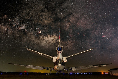 Aircraft and Milky Way composite from the Laurinburg-Maxton Airport, North Carolina.