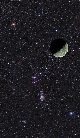 Moon, over the Orion constellation