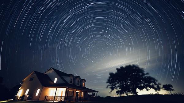 Stars trailing around Polaris (the North Star)