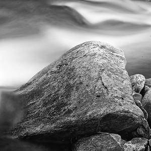 Stones on the Bank - Monochrome