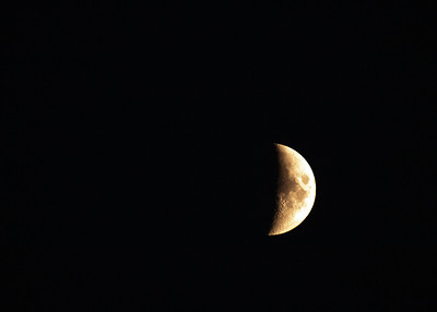 Saturday, September 3, 2011  Waxing Crescent  38% of the moon's disk is visible tonight..