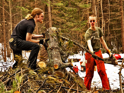 Saturday, April 2, 2011  Success  A successful burn today, thanks in large part to Ian and Brian. With the snow cover shrinking, today may well have been the last weekend for burning, so I was hopeful we could make a little progress.   We dropped some smaller, dead and dry hemlocks and started a fire between the still snowbound brush piles. From there we attacked the piles with chain saws and brute strength. Eventually the fire was hot enough so that anything we threw on it was consumed. Still plenty left to burn, but today was a victory!