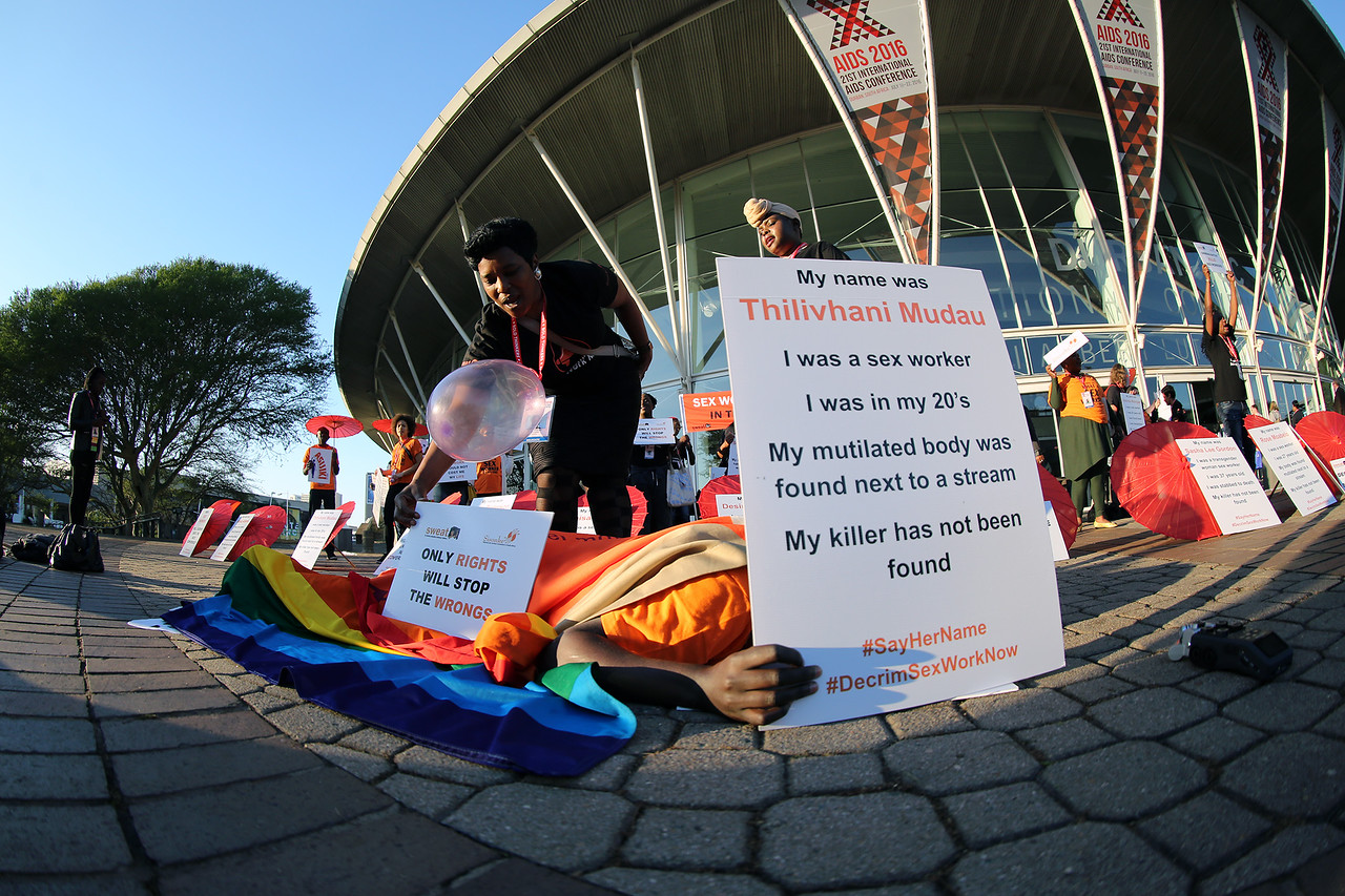 21st International AIDS Conference (AIDS 2016), Durban, South Africa.<br /> Monday 18th July 2016, VENUE : DURBAN ICC (Outside the Venue)<br /> ACTIVITS FOR SEX WORKERS PROTESTING OUTSIDE THE VENUE OF THE MORNING OF THE CONFERENCE BEFORE IT KICKS OFF<br /> Photo©International AIDS Society/Abhi Indrarajan