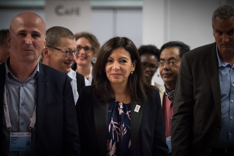 9th IAS Conference on HIV Science (IAS 2017) Paris, France. Copyright: Marcus Rose/IAS<br /> <br /> Photo shows: Mayor of Paris visits exhibition hall