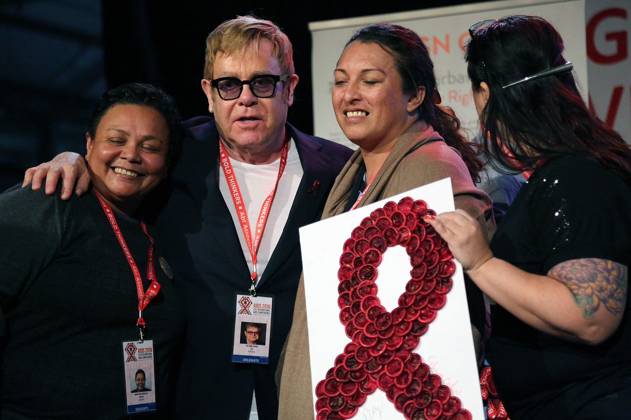 21st International AIDS Conference (AIDS 2016), Durban, South Africa. Wednesday 20 July : Venue : Global Village Sessions with Ambassador Brix and Elton John talking at the Global Village  Photo©International AIDS Society/Abhi Indrarajan