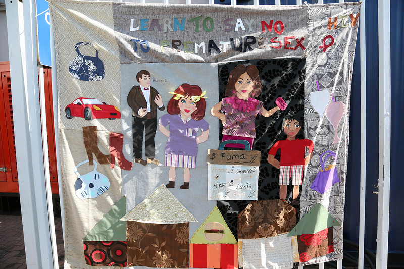21st International AIDS Conference (AIDS 2016), Durban, South Africa. Tuesday 19th July 2016, VENUE : Global Village Quilt on display outside the Global Village Photo©International AIDS Society/Abhi Indrarajan