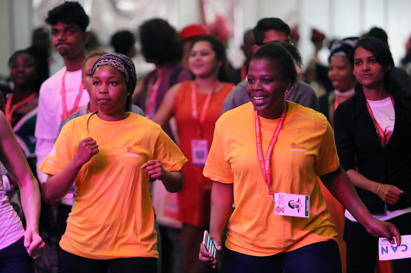 21st International AIDS Conference (AIDS 2016), Durban, South Africa. Monday 18th July 2016, VENUE : Global Village People warming up and having fun at a rave session at the Global Village in the Morning Photo©International AIDS Society/Abhi Indrarajan