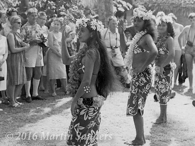 Commodore R G Rees retired on my second trip. He received a great send off from the Tahitians. Dancing and feasting, and eventually he was persuaded into a grass skirt and danced with the girls.