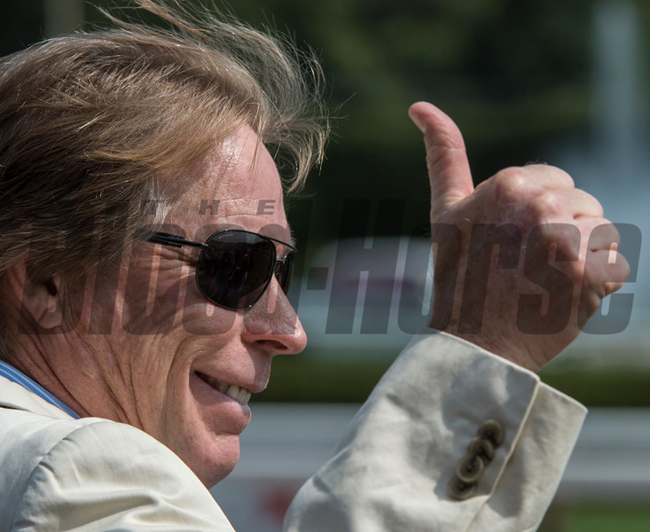 Forever Unbridled's trainer Dallas Stewart gives the thumbs-up sign after his charge beat Songbird in the 70th running of The Personal Ensign at the Saratoga Race Course in Saratoga Springs, N.Y.  (Skip Dickstein