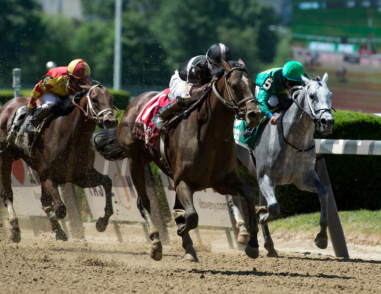 He Hate Me with jockey Ricardo Santana Jr. up wins the 120th running of the Tremont June 9, 2017 at Belmont Park in Elmont, N.Y.  Photo by Skip Dickstein