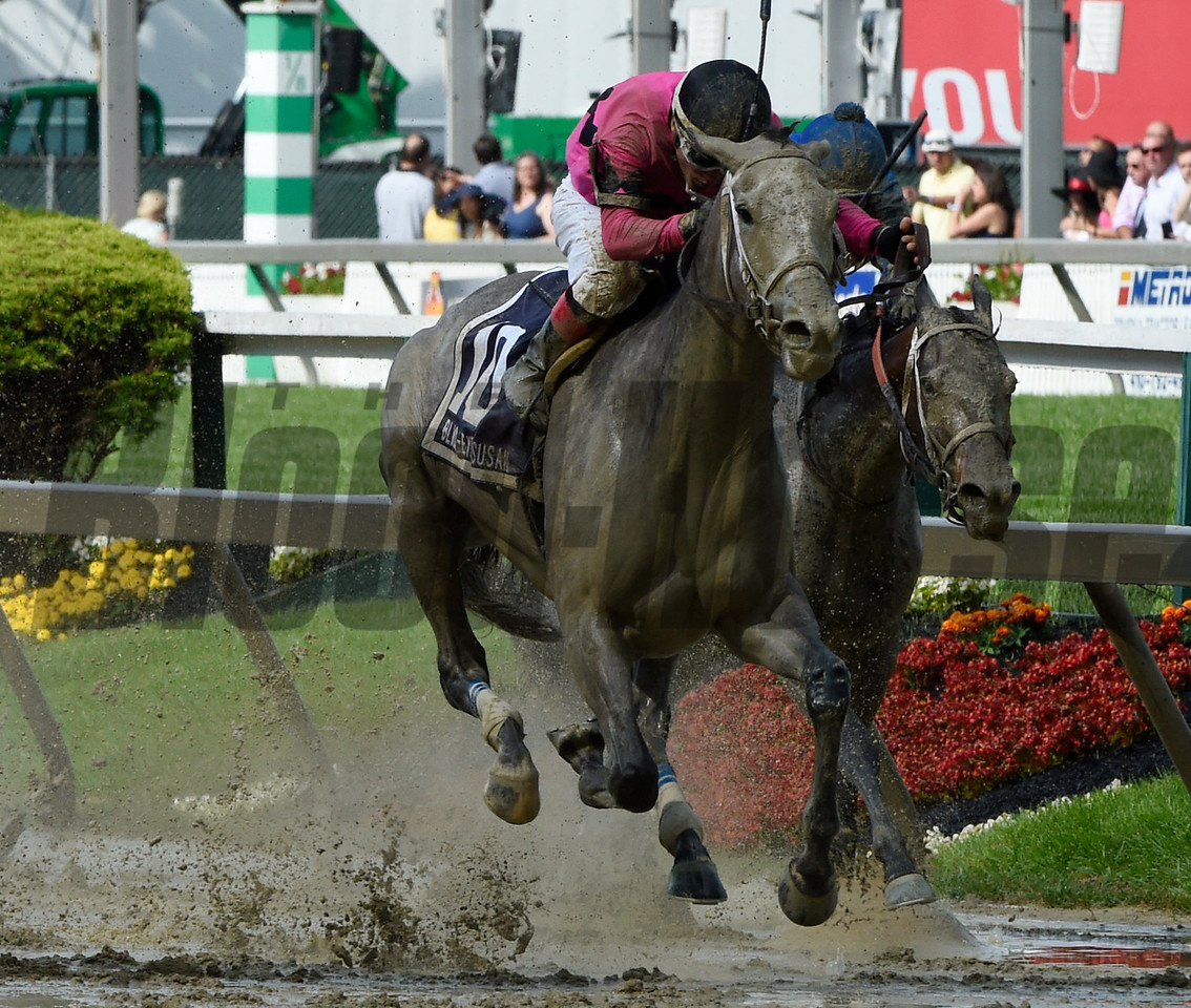 Actress with jockey Nik Juarez skips across the mud to win the 92nd running of The Black-Eyed Susan May 19, 2017 at Pimlico Race Course in Baltimore, MD.  Photo by Skip Dickstein