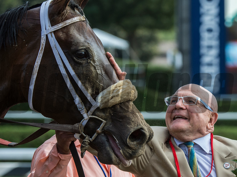 Forever Unbridled's owner Charles Fipke gives his horse a pat on the nose after she won the 70th running of The Personal Ensign at the Saratoga Race Course in Saratoga Springs, N.Y.  (Skip Dickstein