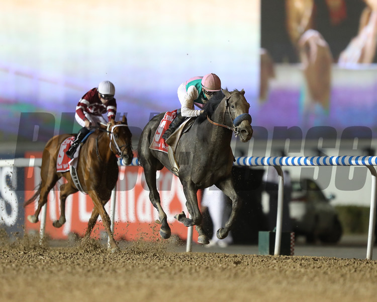 Arrogate with jockey Mike Smith wins the $10 million Dubai World Cup (G1) at Meydan Racecourse on March 25, 2017