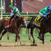 By the Moon with jockey Rajiv Maragh wins the 39th running of The Ketel One Ballerina at the Saratoga Race Course in Saratoga Springs, N.Y.  (Skip Dickstein