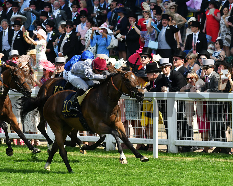 Qemah, Gregory Benoist win the Duke of Cambridge Stakes, Royal Ascot, Ascot, UK 6/21/17, photo by Mathea Kelley