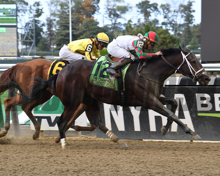 Firenze Fire wins the 2017 Champagne Stakes<br /> Coglianese Photos/Viola Jasko