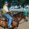 Trainer Bill Mott takes his position to watch Jim Dandy winner Good Samaritan put in his final work for next Saturday's Travers on the Oklahoma Training Center track Sunday Aug. 20, 2017 in Saratoga Springs, N.Y.  Photo: Skip Dickstein