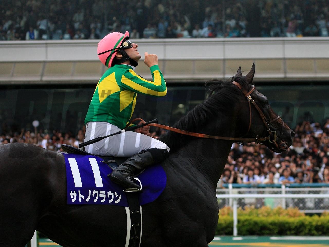 Takarazuka Kinen (G1)<br /> <br /> Winner:Satono Crown (JPN)<br /> <br /> Date:Sunday, 25 June  2017<br /> <br /> Distance:2200m,Turf/about 11furlongs<br /> <br /> Racecourse:Hanshin Racecourse<br /> <br /> Qualification to Run:3yo&up<br />  <br /> Weight:3yo 53Kg/4yo+58Kg<br />  <br /> Allowance:Fillies&Mares/2Kg<br /> Southern Hemisphere Bred Born in 2013/1Kg,2014/3Kg<br />  <br /> Total Value:¥325,000.000 (about US$ 2,826,000)<br /> <br /> Prize Money for the Winner:¥150,000,000 (about US$ 1,304,000)<br /> <br /> Course Condition:Turf Good ,Cloudy<br /> <br /> 1st-11.Satono Crown.(JPN)2 :11.4<br /> <br /> 2nd-2.Gold Actor.(JPN)  3/4<br /> <br /> 3rd-8.Mikki Queen. (JPN) 1 1/2<br /> <br /> 4th-6.Sciacchetra(JPN) 1 3/4