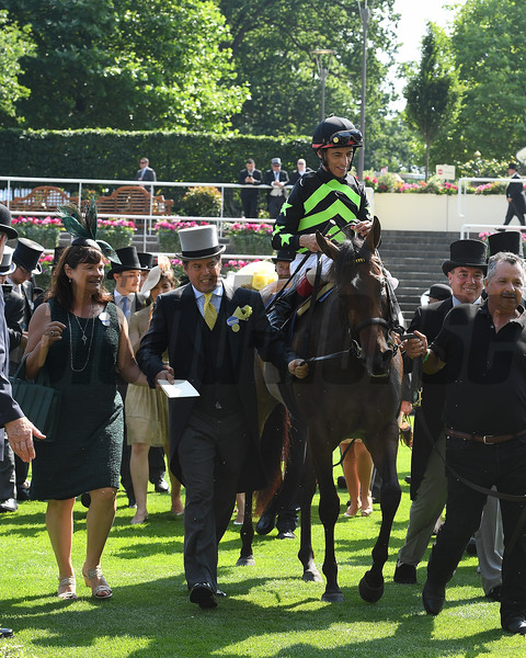 Lady Aurelia and John Velazquez win the Group 1 King's Stand Stakes, Royal Ascot, Ascot, UK, 6/20/17, Photo Mathea Kelley