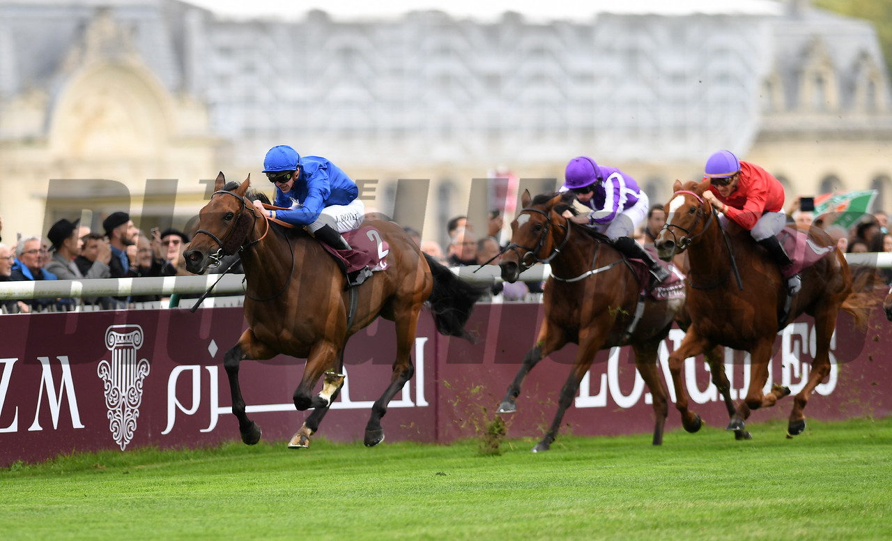 Wild Illusion and James Doyle win the G1 Total Prix Marcel Boussac at Chantilly Race Course, Chantilly France, photo by Mathea Kelley